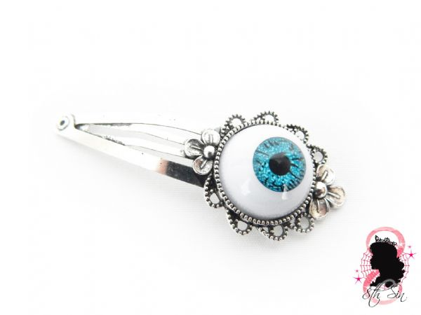 Antique Silver and Blue Eyeball Hair Clips